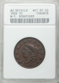 Large Cents, 1832 1C Large Letters -- Scratched -- ANACS. AU Details, Net XF40.CDN: $125 Whsle. Bid for problem-free NGC/PCGS XF40. Min...