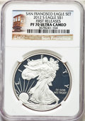Modern Bullion Coins, 2012-S $1 Silver Eagle, 75th Anniversary Set, First Strike PR70 Ultra Cameo NGC. This lot also include a: 2012-S $1 Silv... (Total: 2 coins)