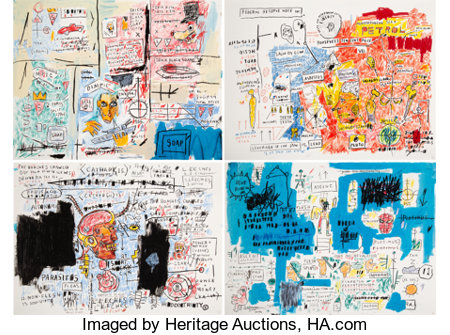 After Jean-Michel Basquiat Ascent, Leeches, Liberty, and Olympic (four works), 2017Screenprint in colors on paper2... (Total: 4 Items)