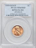 1959-D/D/D 1C Repunched Mintmark, FS-501 MS65 Red PCGS. PCGS Population: (78/16). NGC Census: (24/9). Mintage 1,279,760...