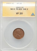 Lincoln Cents, 1922 1C No D, Strong Reverse, FS-401, VF20 ANACS. ...