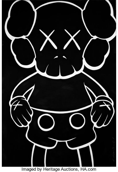 KAWS (American, b. 1974) Companion-Bus Stop, 2001 Acrylic on Arches paper 70-1/4 x 48-1/4 inches (178.4 x 122.6 cm) ...