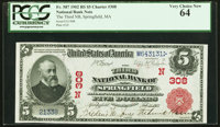 Springfield, MA - $5 1902 Red Seal Fr. 587 The Third NB Ch. # (N)308 PCGS Very Choice New 64