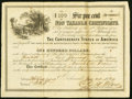 Confederate Notes:Group Lots, Issued by H.J.G. Battle CSA Depositary at Marshall, Texas Ball 363a Cr. UNL $100 1864 Six Per Cent Non Taxable Certificate Rem...