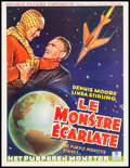 "Movie Posters:Serial, The Purple Monster Strikes (Republic, 1945). Fine+ on Linen.Trimmed Belgian (14.5"" X 18.75""). Serial.. ..."