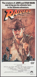 "Movie Posters:Adventure, Raiders of the Lost Ark (CIC, 1981). Folded, Very Fine-. AustralianDaybill (13.5"" X 28""). Richard Amsel Artwork. Adventure...."