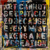 Mr. Brainwash (French, b. 1966) Retrospect, 2013 Silkscreen, stencil, acrylic and spray paint on pap