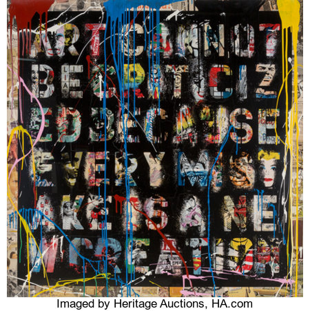 Mr. Brainwash (French, b. 1966)Retrospect, 2013Silkscreen, stencil, acrylic and spray paint on paper50 x 50 inches...