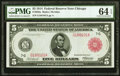 Fr. 838a $5 1914 Red Seal Federal Reserve Note PMG Choice Uncirculated 64 EPQ
