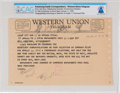 Explorers:Space Exploration, Western Union Telegram to Neil Armstrong From Karl Ruck Directly From The Armstrong Family Collection™, CAG Certified....