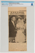 Explorers:Space Exploration, Wapakoneta Daily News Clipping of Armstrong Wedding, 1956, Directly From The Armstrong Family Collection™, CAG Certifi...