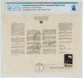 Explorers:Space Exploration, Philatelia: International Space Treaty Facsimile First Day Canceled Souvenir Card Directly From The Armstrong Family Collectio...