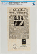 "Explorers:Space Exploration, Philatelia: New York Times Facsimile Apollo 8 ""3 Men Fly Around The Moon"" Front Page First Day Canceled Souvenir C..."