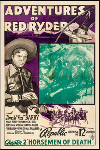 "Adventures of Red Ryder (Republic, 1940). Fine/Very Fine on Linen. One Sheet (27.25"" X 41"") Chapter 2 -- ""..."