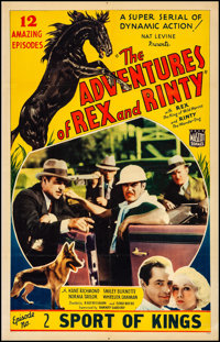 "The Adventures of Rex and Rinty (Mascot, 1935). Fine/Very Fine on Linen. One Sheet (27.5"" X 41"") Chapter 2 --..."