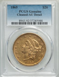 Liberty Double Eagles: , 1865 $20 -- Cleaning -- PCGS Genuine. AU Details. NGC Census: (68/626). PCGS Population: (79/235). CDN: $2,300 Whsle. Bid f...