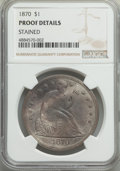 Proof Seated Dollars, 1870 $1 -- Stained -- NGC Details. Proof. OC-P1, Low R.3. Osburn-Cushing Die State a/a. Original proof, with die doubli...