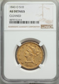 Liberty Eagles: , 1843-O $10 -- Cleaned -- NGC Details. AU. NGC Census: (49/199). PCGS Population: (39/71). CDN: $1,600 Whsle. Bid for proble...