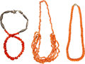 Jewelry, A Group of Three Chinese Coral Beaded Strands, 20th century. 18 inches (45.7 cm). ... (Total: 3 Items)