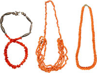 A Group of Three Chinese Coral Beaded Strands, 20th century 18 inches (45.7 cm) ... (Total: 3 Items)