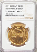 "Great Britain, Great Britain: Elizabeth II gold Proof ""Britannia and the Lion"" 100 Pounds 2001 PR70 Ultra Cameo NGC,..."