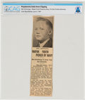 """Explorers:Space Exploration, """"Wapak Youth Picked by Navy"""" Wapakoneta Daily News Clipping Directly From The Armstrong Family Collection™, CAG Ce..."""