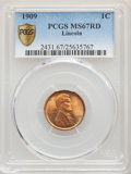 Lincoln Cents, 1909 1C MS67 Red PCGS Secure. PCGS Population: (78/0 and 14/0+). NGC Census: (6/0 and 0/0+). CDN: $1,400 Whsle. Bid for pro...