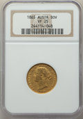 Australia, Victoria gold Sovereign 1865-(sy) VF25 NGC,...