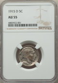 Buffalo Nickels: , 1915-D 5C AU55 NGC. NGC Census: (69/837). PCGS Population: (178/1229). CDN: $130 Whsle. Bid for problem-free NGC/PCGS AU55....