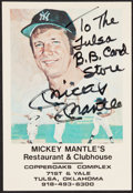 Autographs:Post Cards, Mickey Mantle Signed Restaurant Card....