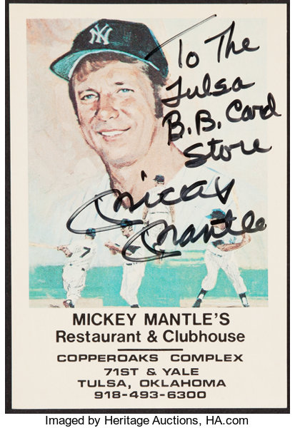 Mickey Mantle Signed Restaurant Card Autographs Post