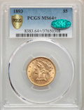 Liberty Half Eagles, 1893 $5 MS64+ PCGS. CAC. PCGS Population: (305/41 and 27/2+). NGC Census: (750/77 and 21/7+). CDN: $650 Whsle. Bid for prob...