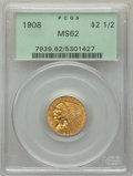 Indian Quarter Eagles: , 1908 $2 1/2 MS62 PCGS. PCGS Population: (1542/3870). NGC Census: (2909/3240). CDN: $425 Whsle. Bid for problem-free NGC/PCG...
