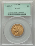 1911-S $5 AU55 PCGS. PCGS Population: (254/1308). NGC Census: (494/1832). CDN: $410 Whsle. Bid for problem-free NGC/PCGS...