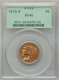 Indian Half Eagles: , 1915-S $5 XF45 PCGS. PCGS Population: (74/746). NGC Census: (76/1257). CDN: $395 Whsle. Bid for problem-free NGC/PCGS XF45....