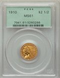Indian Quarter Eagles: , 1910 $2 1/2 MS61 PCGS. PCGS Population: (550/2776). NGC Census: (1936/5474). MS61. Mintage 492,000. ...