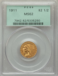 1911 $2 1/2 MS62 PCGS. PCGS Population: (2236/2436). NGC Census: (4252/3203). CDN: $380 Whsle. Bid for problem-free NGC/...