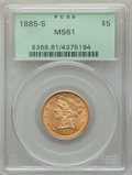 1885-S $5 MS61 PCGS. PCGS Population: (393/2364). NGC Census: (976/3133). MS61. Mintage 1,211,500. ...(PCGS# 8368)