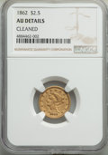 Liberty Quarter Eagles: , 1862 $2 1/2 -- Cleaned -- NGC Details. AU. NGC Census: (9/193). PCGS Population: (24/113). CDN: $1,300 Whsle. Bid for probl...