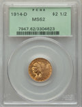Indian Quarter Eagles: , 1914-D $2 1/2 MS62 PCGS. PCGS Population: (2024/2187). NGC Census: (3576/2561). CDN: $415 Whsle. Bid for problem-free NGC/P...
