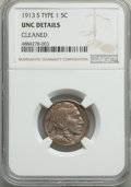 Buffalo Nickels, 1913-S 5C Type One -- Cleaned -- NGC Details. Unc. NGC Census: (1/1307). PCGS Population: (7/2360). CDN: $90 Whsle. Bid for...
