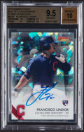 Baseball Cards:Singles (1970-Now), 2015 Bowman's Best Francisco Lindor Best of '15 Autograph Atomic Refractor #B15-FL BGS Gem Mint 9.5, Autograph 10 - Numbered 3...