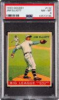 Baseball Cards:Singles (1930-1939), 1933 Goudey Jim Elliott #132 PSA NM-MT 8 - Only One Higher. ...