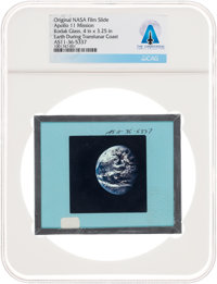 Apollo 11 Original NASA Glass Film Slide, an Image of Earth During Translunar Coast, Directly From The Armstrong F