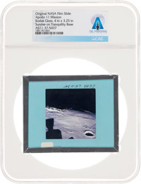 Apollo 11 Original NASA Glass Film Slide, an Image of Sunrise on Tranquility, Directly From The Armstrong Family C