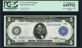 Courtesy Autograph Fr. 871a $5 1914 Federal Reserve Note PCGS Very Choice New 64PPQ