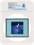 Explorers:Space Exploration, Apollo 11 Original NASA Glass Film Slide, an Image of Buzz Aldrin Carrying EASEP Package, Directly From The Armstrong Fami...