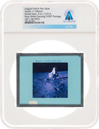 Apollo 11 Original NASA Glass Film Slide, an Image of Buzz Aldrin Carrying EASEP Package, Directly From The Armstr