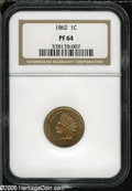 Proof Indian Cents: , 1862 1C PR 64 NGC. ...