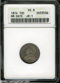 Bust Dimes: , 1814 10C Small Date VG8 ANACS JR-1....